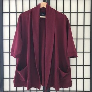 🏷AE Wine Open Front Short Sleeve Cardigan